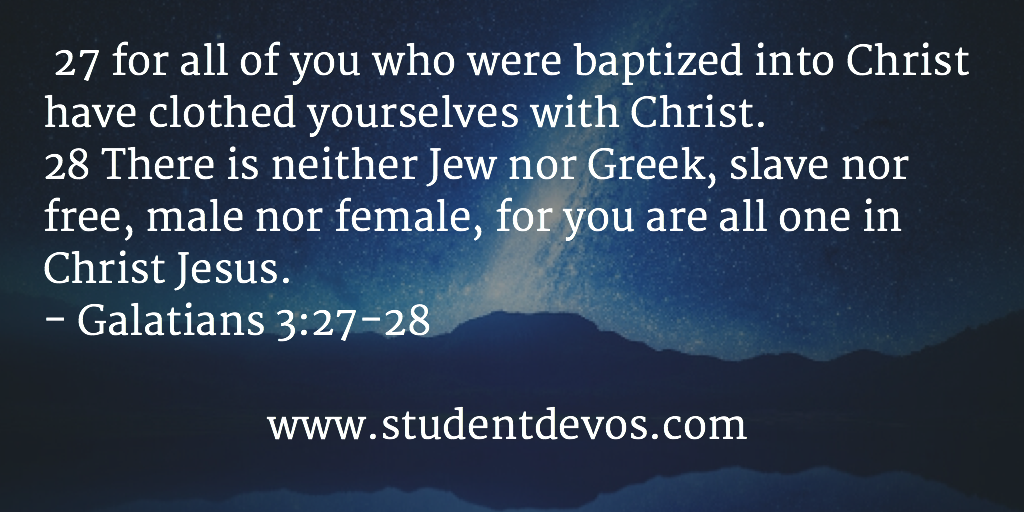 Daily devotion on clothing yourself in Christ with Bible verse