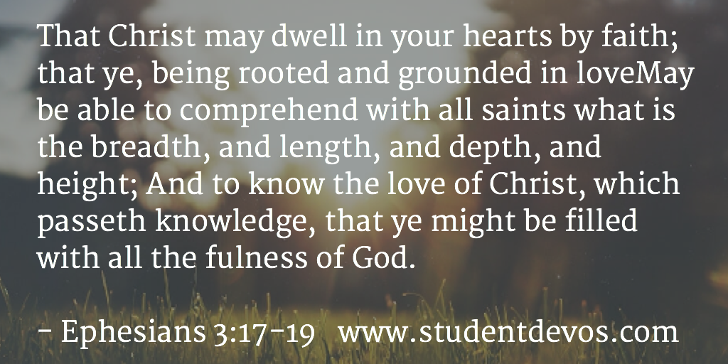 Daily Bible Verse on Ephesians 3:17-19