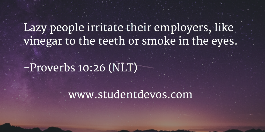 Daily Bible Verse and Devotional on not being lazy employee