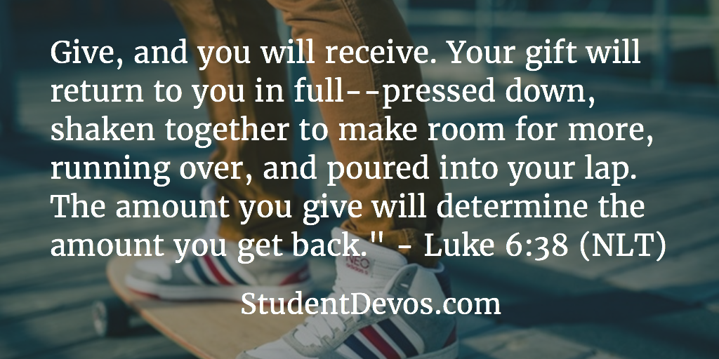 Daily Bible Verse and Devotion For Teens on Giving