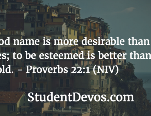 Daily devotion and Bible verse - Proverbs 22:1