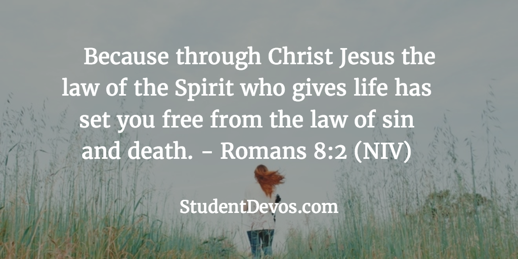 Because Through Christ Jesus The Law Of Spirit Who Gives Life Has Set You Free From Sin And Death Romans 82 NIV