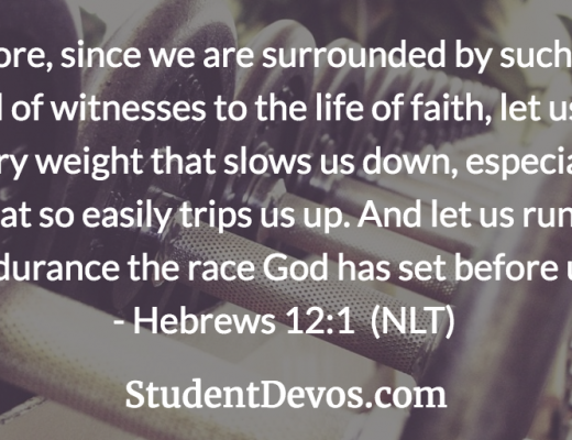 Daily devotion and Bible verse on Hebrews 12:1