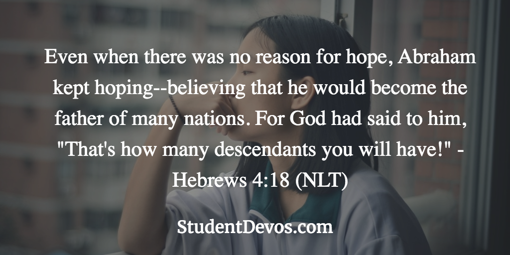Daily Bible Verse and Devotion on Hope for Teens and Youth