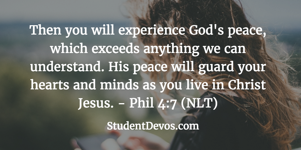 Daily Bible Verse and Devotion on the Peace of God for Youth and Teens