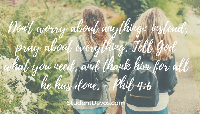 Teen Devotion Daily Bible Verse on Worry