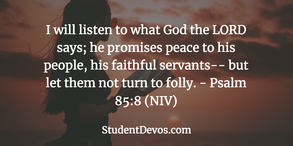 Bible Verse and Devotion for teens on listening to God
