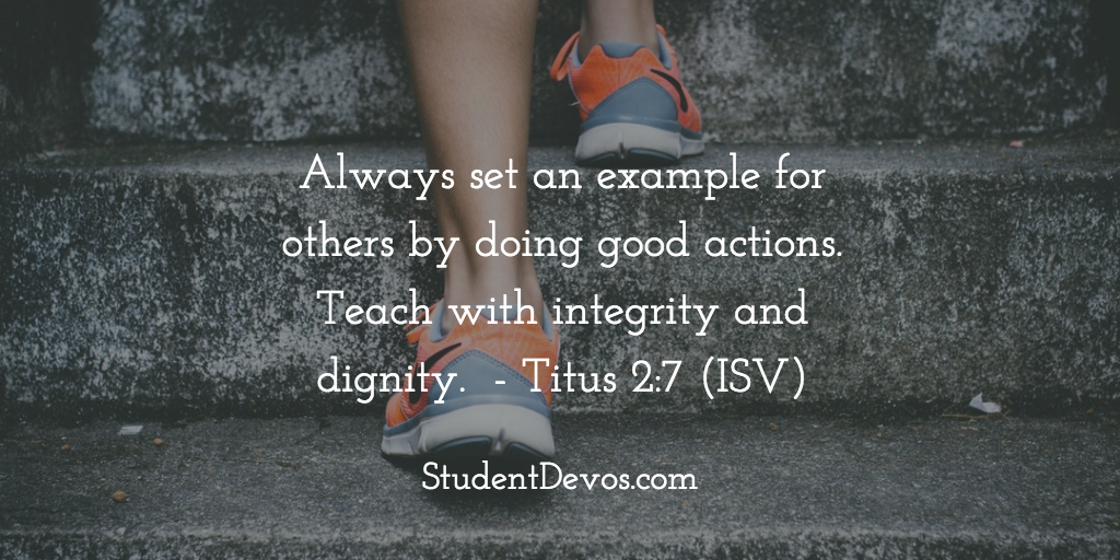 Daily Bible Verse for Teens on Character setting good example
