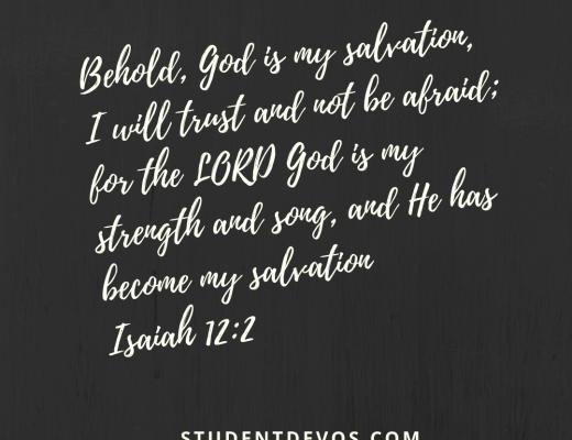 Student devos verse image Isaiah 12-2