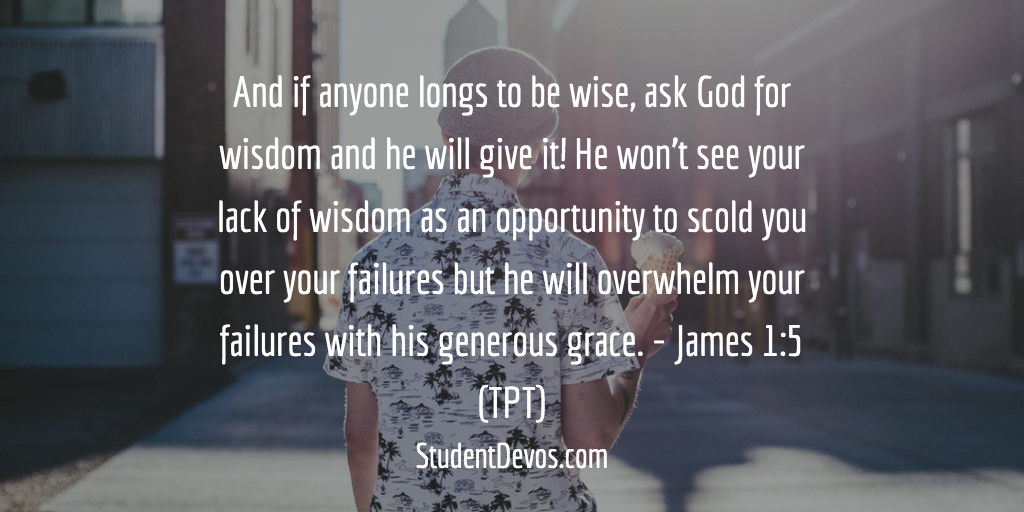 Daily Teen Bible Verse and Devotion asking God for wisdom