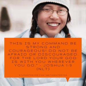 Teen Daily Bible Verse and Devotion on Joshua 1:9 Christmas