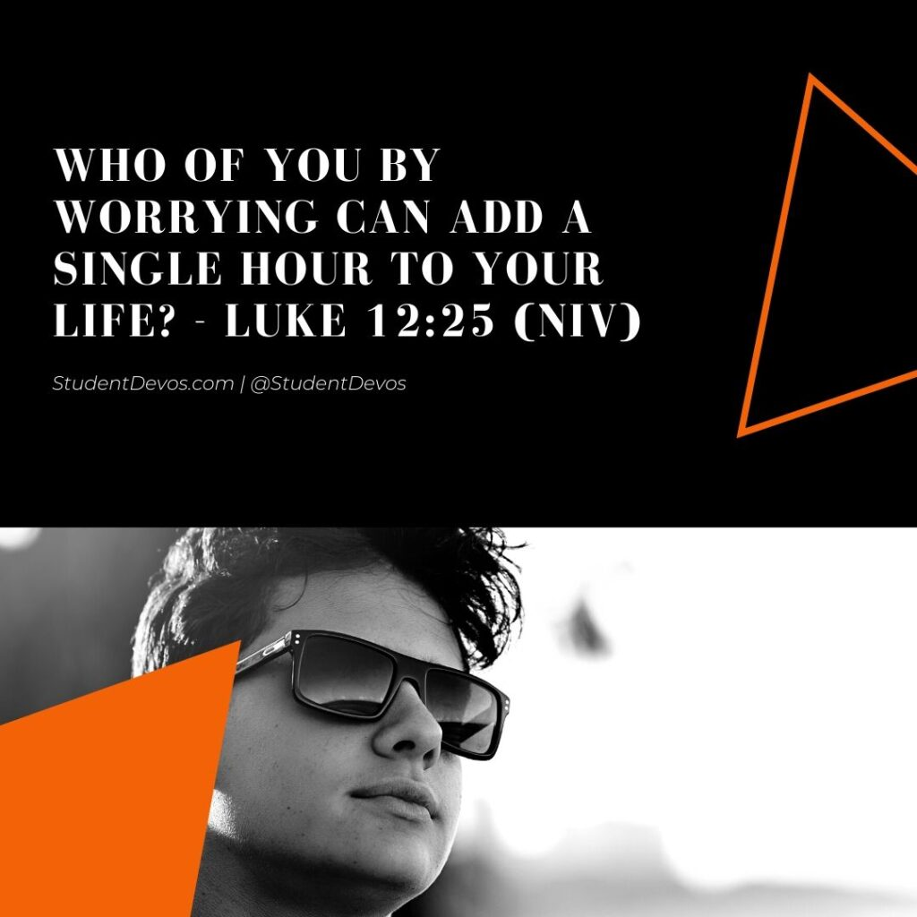 Teenager with sunglasses with bible verse on worry
