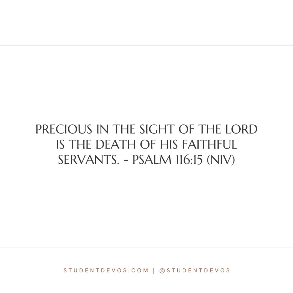 Psalm 116:15 devotion for teens